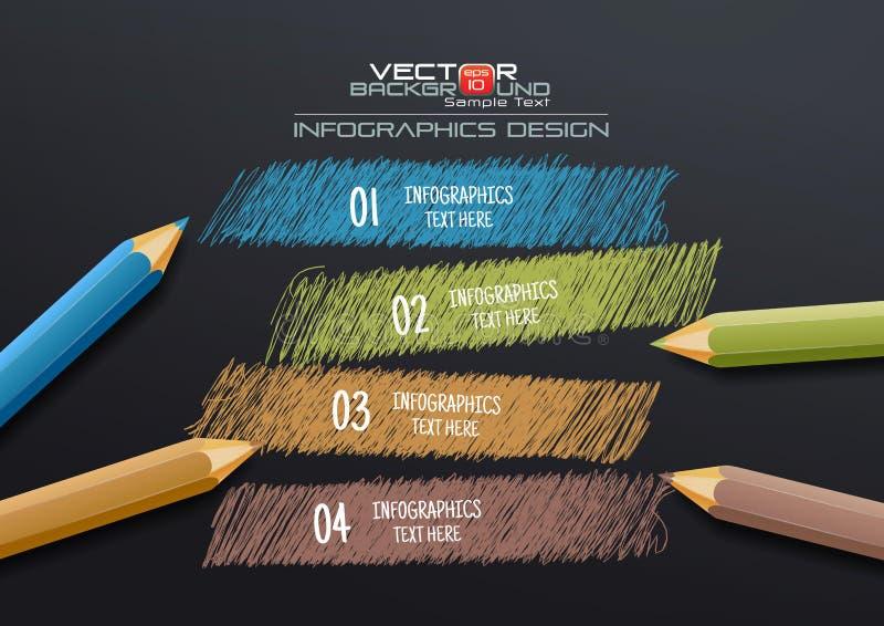 Infographic-Schablone mit buntem Bleistift-Zeichnungs-Hintergrund lizenzfreies stockbild