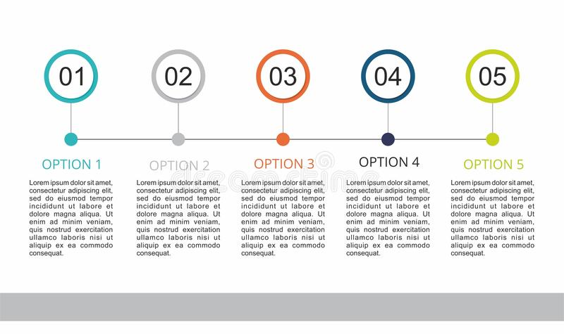 Infographic-Schablone mit fünf Schritte stock abbildung