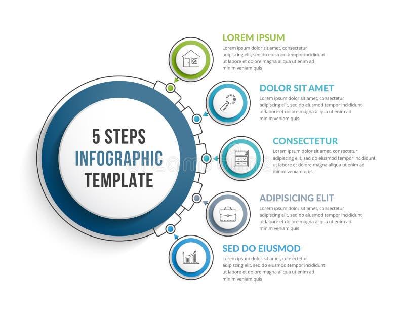 Infographic-Schablone mit fünf Schritten lizenzfreie abbildung
