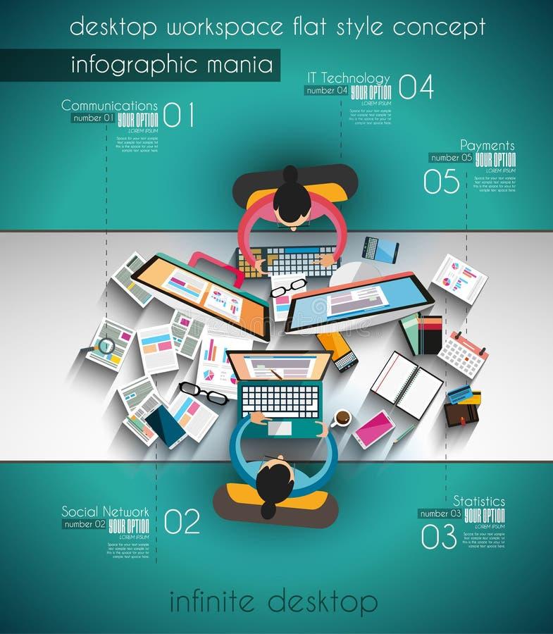 Infographic-Schablone mit flachen UI-Ikonen für ttem Klassifizierung stock abbildung
