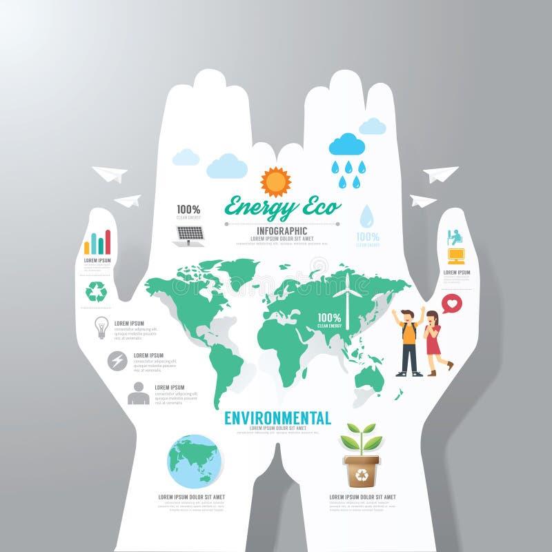 Infographic-Schablone mit Handpapierfahne Tag der Erde vektor abbildung