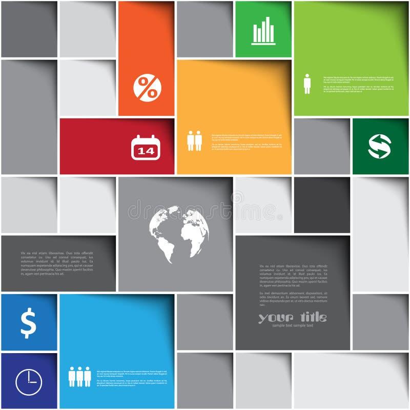 Infographic-Schablone mit Quadraten stock abbildung