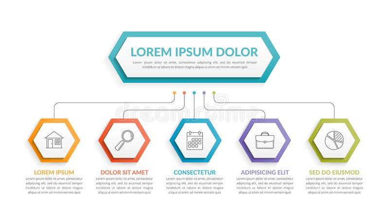 Infographic-Schablone mit 5 Schritten lizenzfreie abbildung