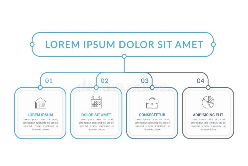 Infographic-Schablone mit 4 Schritten lizenzfreie abbildung