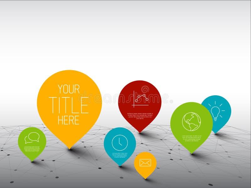 Infographic-Schablone mit Zeigern in einem großen Netz stock abbildung