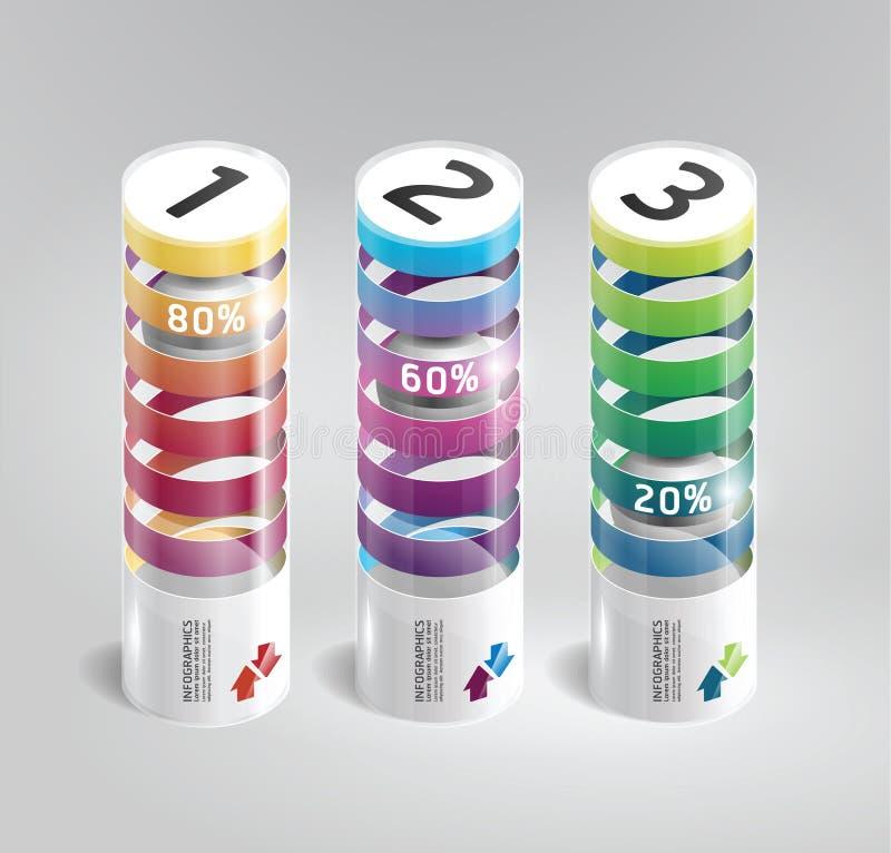 Infographic-Schablone moderner zylinderförmiger Designschweinestall lizenzfreie abbildung