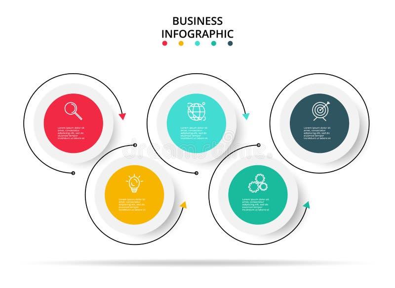 infographic Schablone von 5 Schritten Das infographic Geschäftskonzept kann für Arbeitsflussplan, Diagramm, Fortschritt, Zeitachs stock abbildung