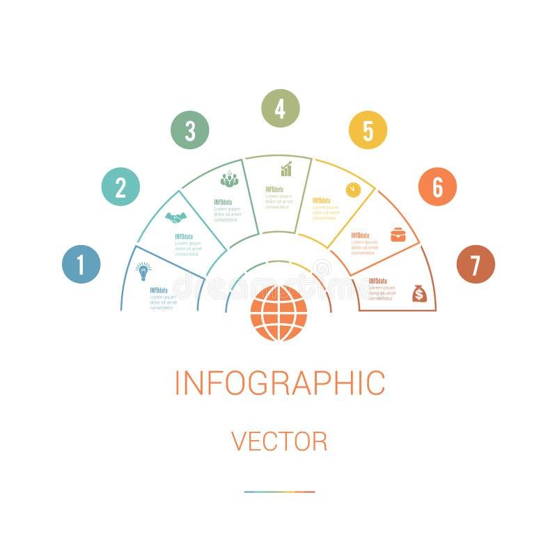 Infographic-Schablonen-buntes Kreisdiagramm-Halbrund mit Text AR vektor abbildung