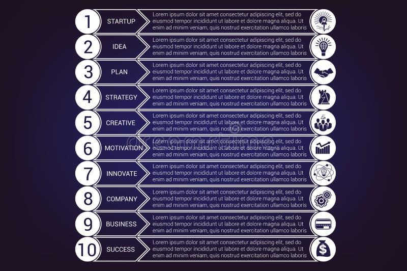 Infographic Schablonen des Startgeschäfts von den Kreisen und von den horizontalen Streifen 10 Positionen lizenzfreie abbildung