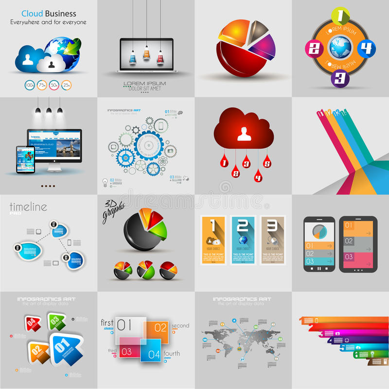 Infographic-Schablonensammlungen mit vielen verschiedenen Gestaltungselementen stock abbildung