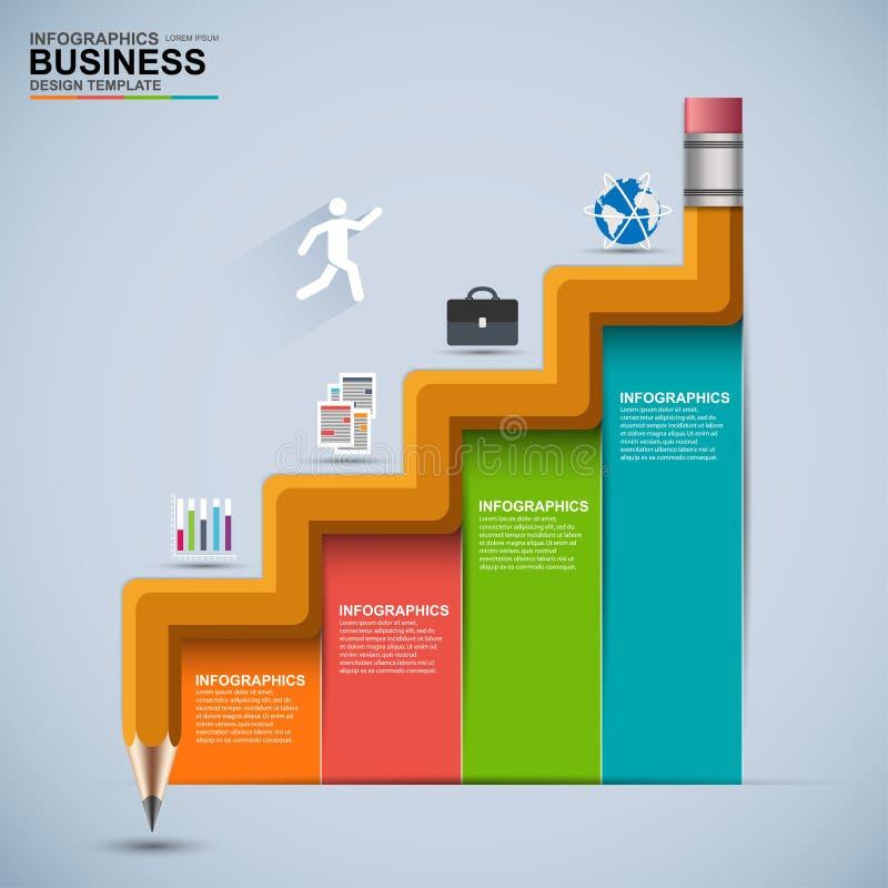 Infographic schody biznesowej edukaci projekta wektorowy szablon ilustracji