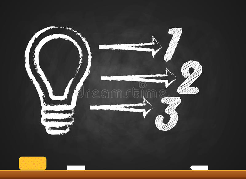 Infographic schoolboard. Bulb, Light icon. Infographic design template and marketing icons. Bulb icon. Light icon royalty free illustration