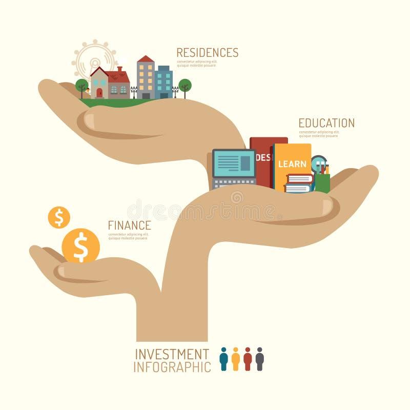 Infographic Schritt des Anlagengeschäftkonzeptes Handzu erfolgreichem stock abbildung