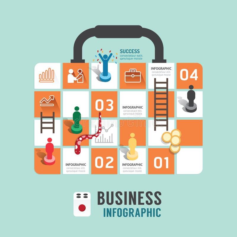 Infographic Schritt des GeschäftsBrettspiel-Konzeptes zu erfolgreichem stock abbildung