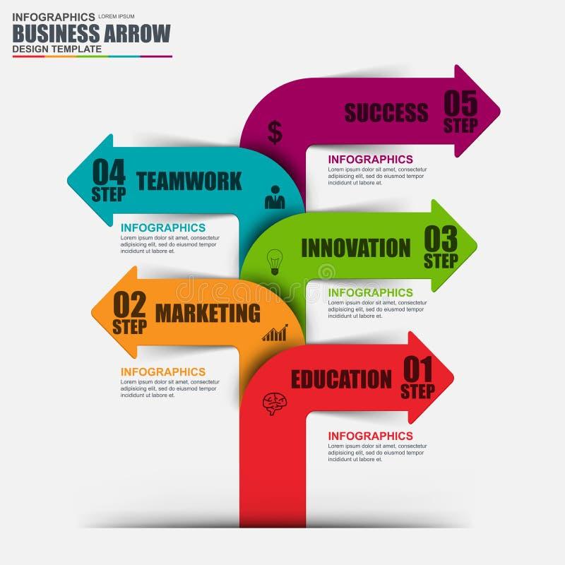Infographic-Schritt zur erfolgreichen Vektordesignschablone stock abbildung