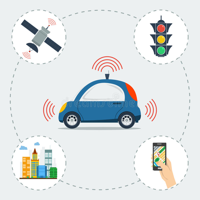 Infographic of self driving car vector illustration