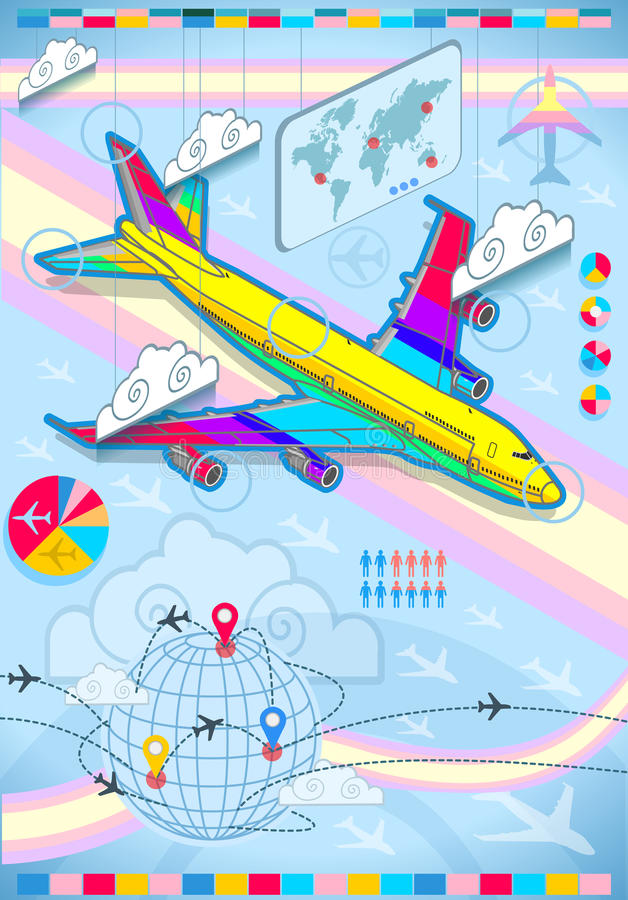 Infographic set elements with airplane in raibow vector illustration