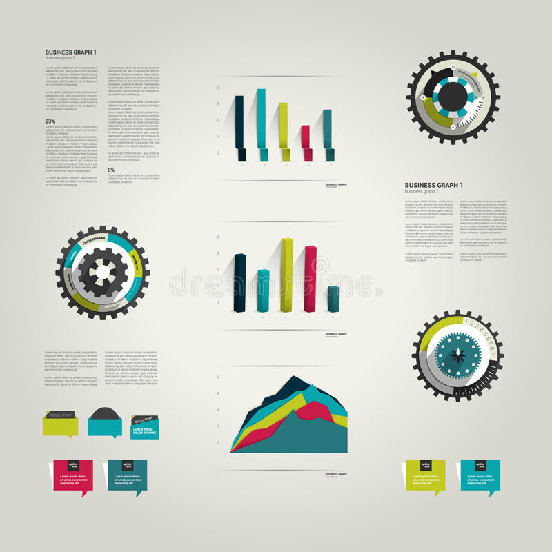 Infographic set elements. Business collection of charts, speech bubbles, cog wheel diagrams. Vector vector illustration
