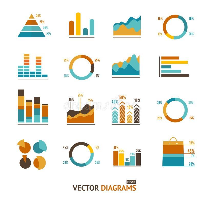 Infographic set elements, graph, diagrams stock illustration