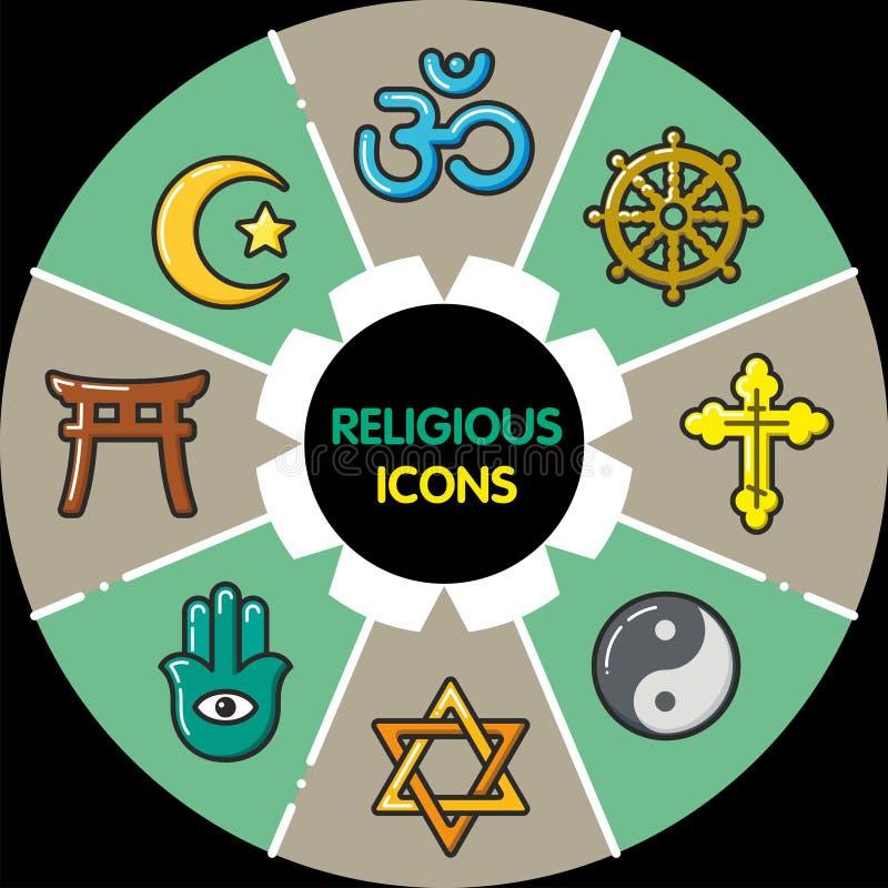 Infographic_set religijne ikony ilustracji
