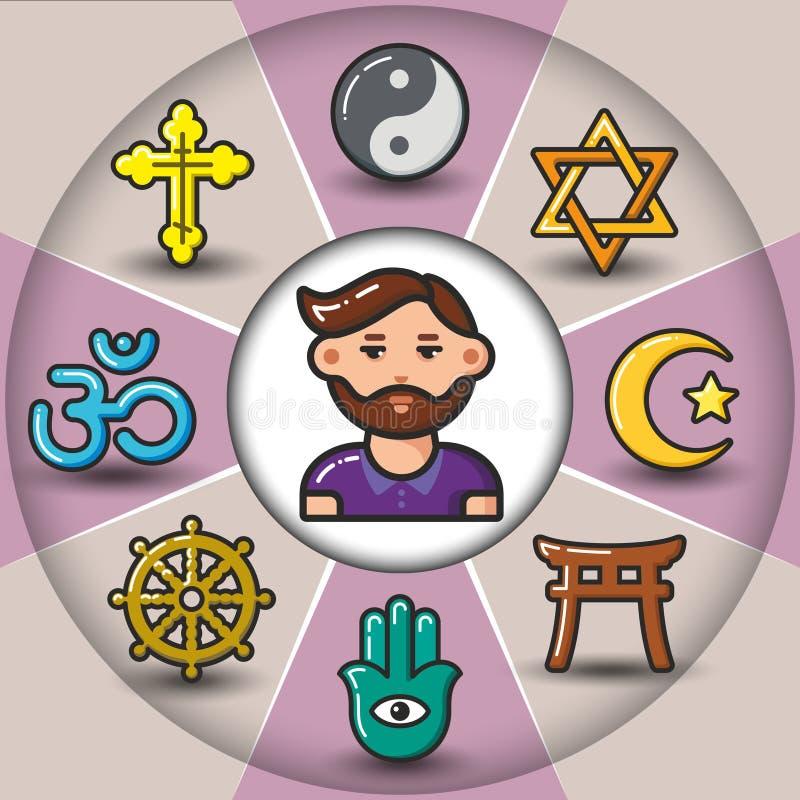 Infographic_set religijne ikony i mężczyzna royalty ilustracja