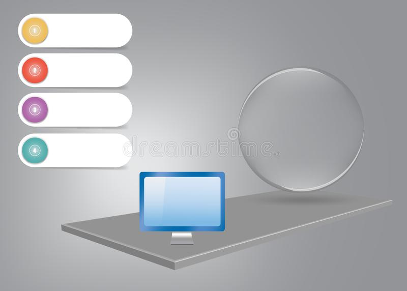 3d desk infographic vector with PC monitor and glass ball stock illustration