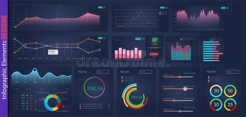 Infographic sieci analizy elementu projekt Sztuka projekta statystyk roczni wykresy Abstrakcjonistyczna pojęcie grafika UI, UX ilustracji