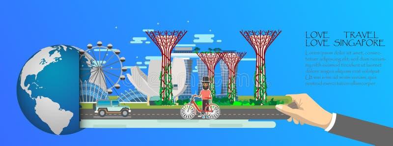 Infographic Singapore, globaal met oriëntatiepunten van Singapore, vlakke stijl De liefde Singapore van de liefdereis vector illustratie