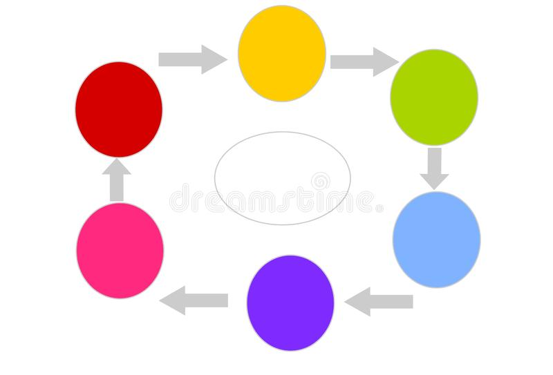 Infographic with Six Different Colored Circles. The colors are red, yellow, light green, light blue, purple and pink. In the middle you can fill in the main stock illustration