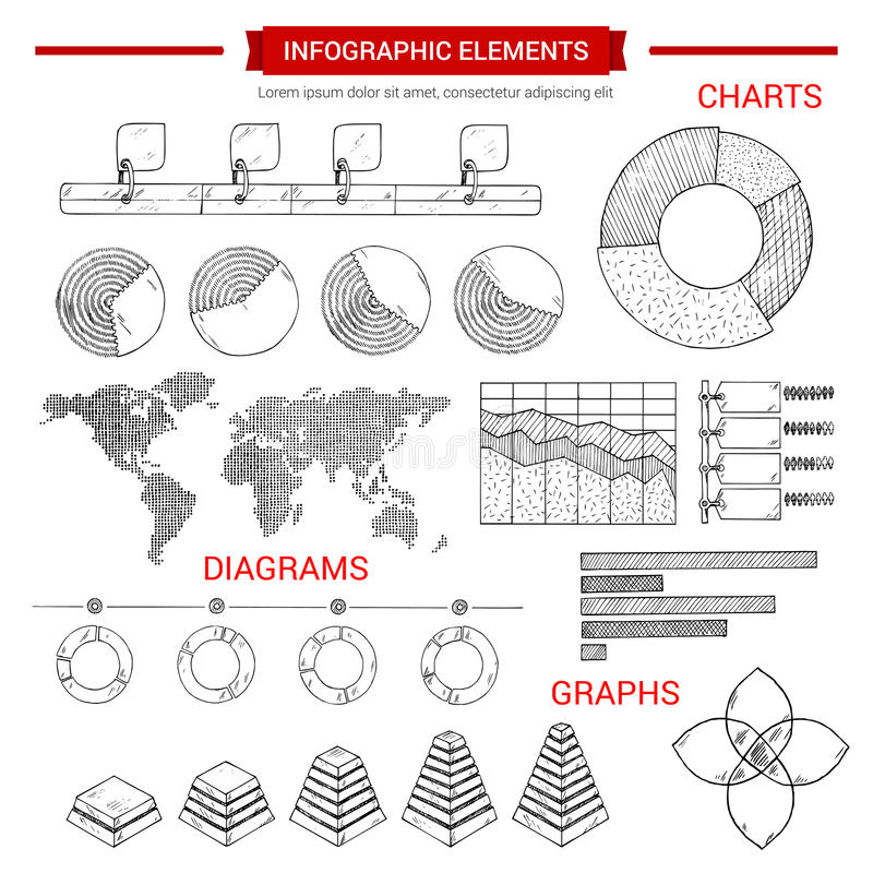 Infographic sketch graph, chart vector elements vector illustration