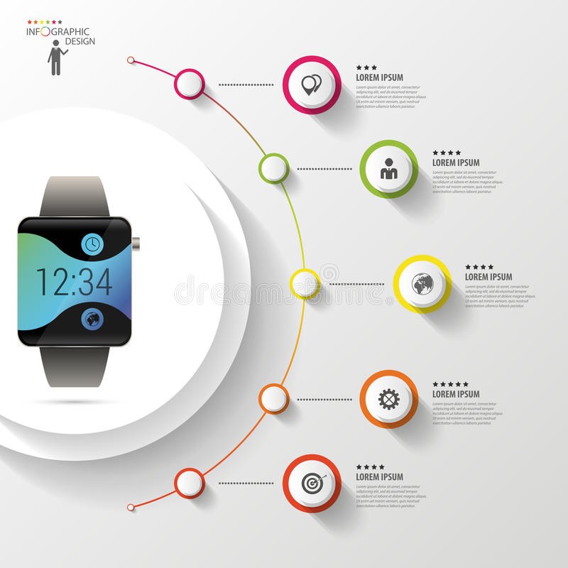 Infographic Slim horloge Bedrijfs concept Kleurrijke cirkel met pictogrammen Vector illustratie royalty-vrije illustratie
