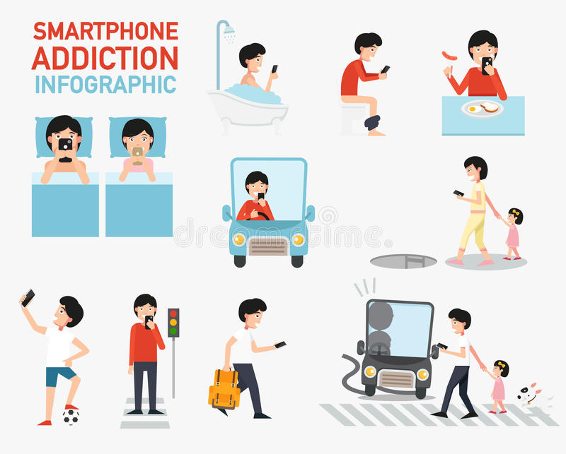 Infographic Smartphone böjelse vektor royaltyfri illustrationer