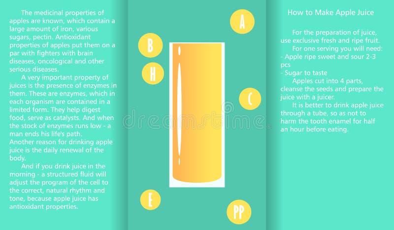 Infographic sobre las propiedades beneficiosas del zumo de manzana y un método de preparar el jugo libre illustration