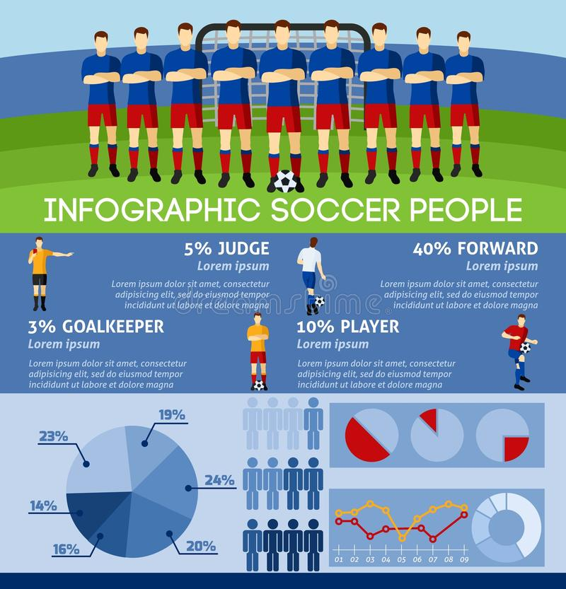 Infographic Soccer With Team And Gate. Infographic soccer with team players and gate background flat vector illustration royalty free illustration