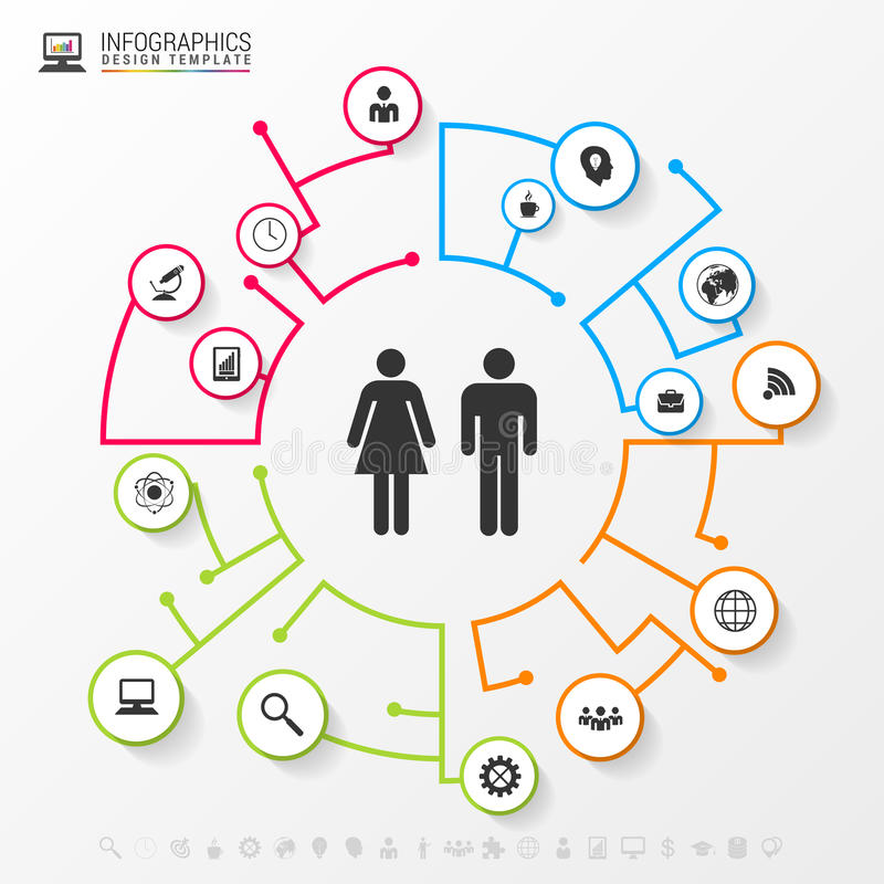 Infographic social network concept. Modern business template royalty free illustration
