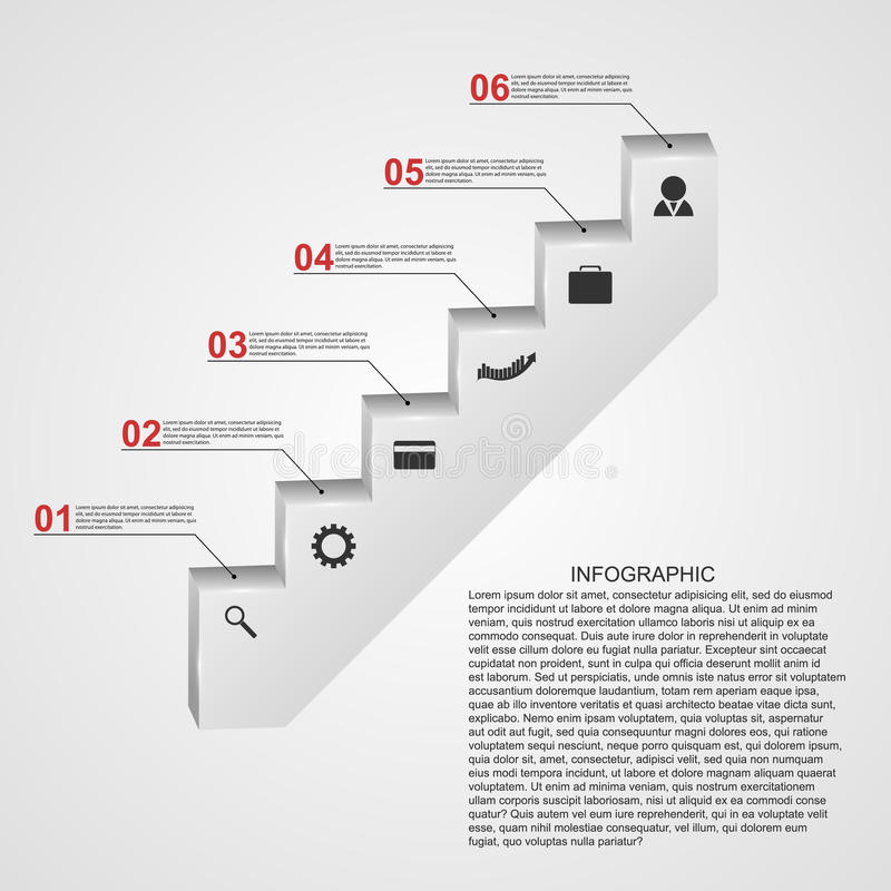Infographic sous forme de concept de construction d'escaliers d'étapes illustration libre de droits