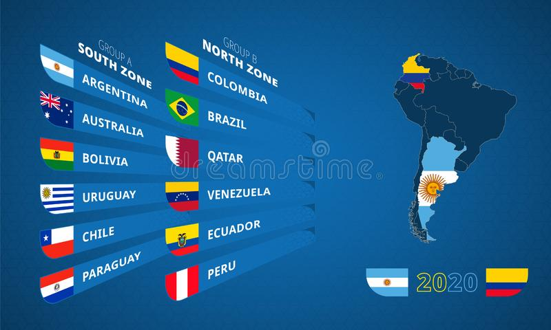 Infographic for South America football tournament 2020 with flag of participants sorted by group. And map of host countries royalty free illustration