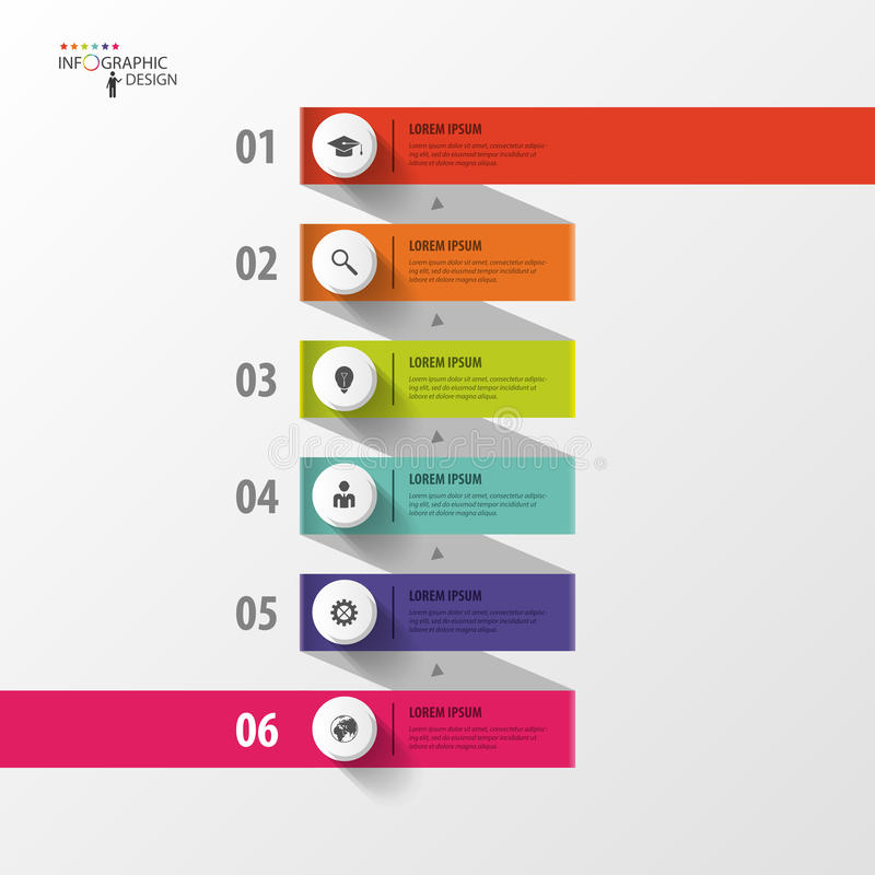 Infographic-Spiralen-Geschäftsschablone mit Papiertags Vektor lizenzfreie abbildung