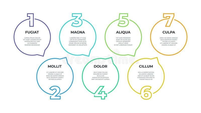 Infographic stap De grafiek van de processtroom, grafische chronologie, het diagram van de werkschemalijn, 7 stappen bedrijfsopti stock illustratie