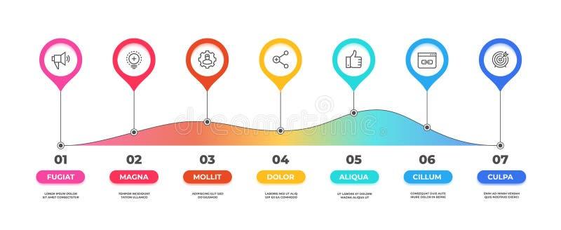 Infographic stap Het diagram van de optiechronologie, bedrijfs grafische grafiek, het malplaatje van de werkschemapresentatie Vec royalty-vrije illustratie