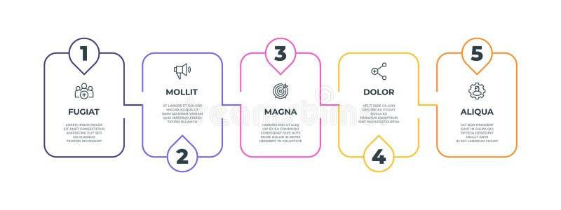 Infographic staplijn de mijlpaaldiagram van de 5 optieslijn, concept van de presentatie het grafische banner Vector infographic l royalty-vrije illustratie