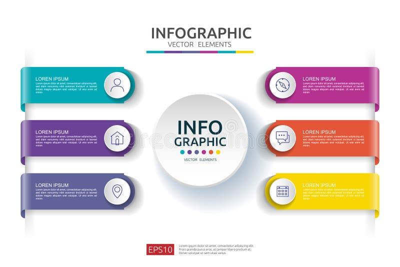 6 infographic stappen het malplaatje van het chronologieontwerp met 3D document etiket Bedrijfsconcept met opties Voor inhoud, di royalty-vrije illustratie