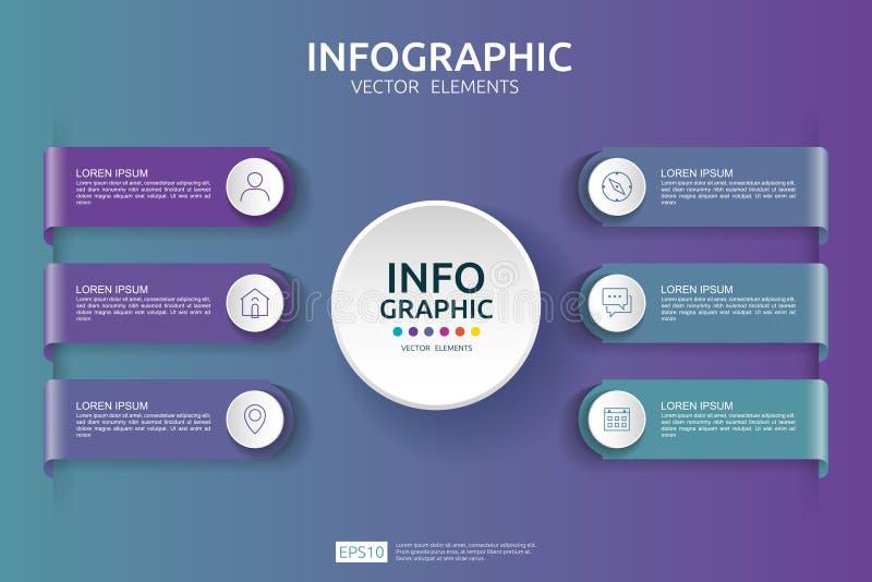 6 infographic stappen het malplaatje van het chronologieontwerp met 3D document etiket Bedrijfsconcept met opties Voor inhoud, di stock illustratie