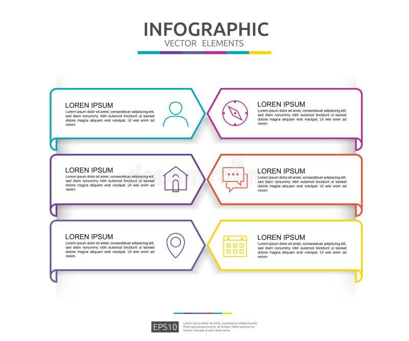 6 infographic stappen het malplaatje van het chronologieontwerp met 3D document etiket Bedrijfsconcept met opties Voor inhoud, di vector illustratie