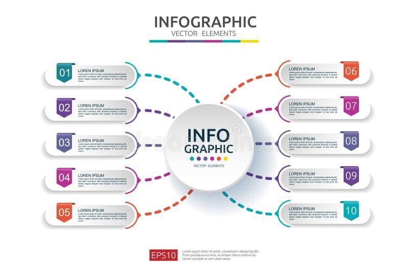 10 infographic stappen het malplaatje van het chronologieontwerp met 3D document etiket Bedrijfsconcept met opties Voor inhoud, d royalty-vrije illustratie