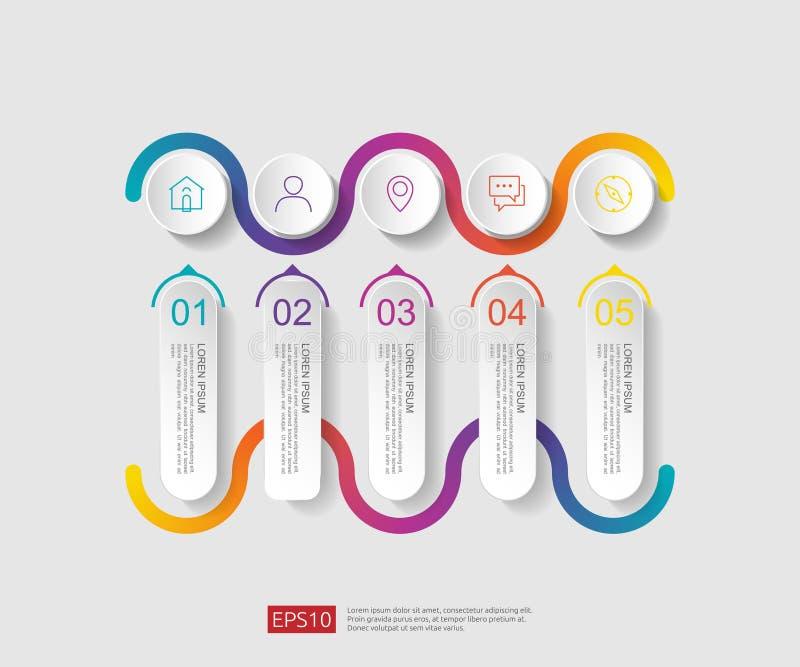 5 infographic stappen het malplaatje van het chronologieontwerp met 3D document etiket, geïntegreerde cirkels Bedrijfsconcept met royalty-vrije illustratie
