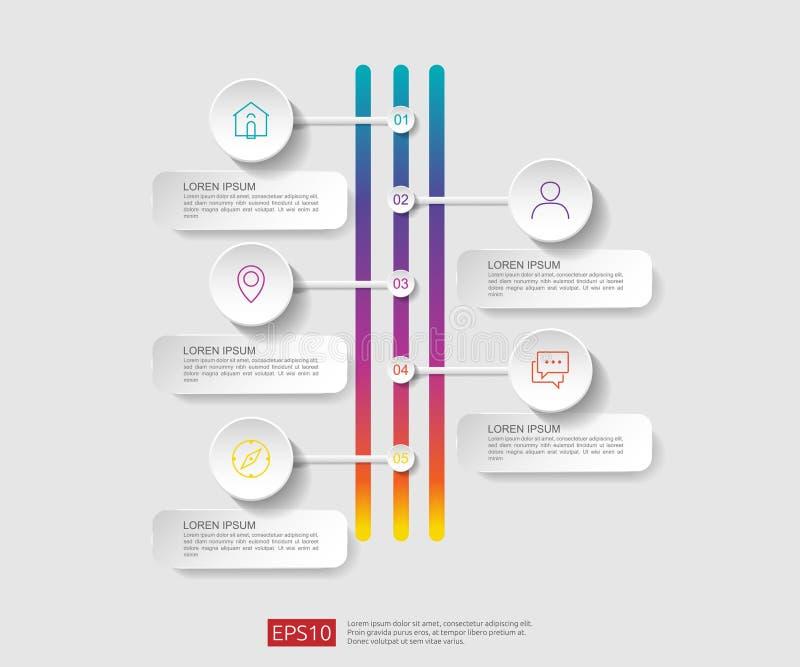 5 infographic stappen het malplaatje van het chronologieontwerp met 3D document etiket, geïntegreerde cirkels Bedrijfsconcept met stock illustratie