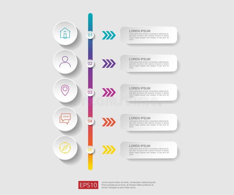 5 infographic stappen het malplaatje van het chronologieontwerp met 3D document etiket, geïntegreerde cirkels Bedrijfsconcept met vector illustratie