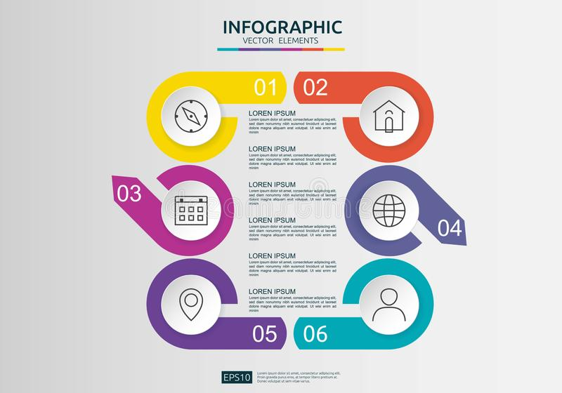 6 infographic stappen het malplaatje van het chronologieontwerp met 3D document etiket, ge?ntegreerde cirkels Bedrijfsconcept met royalty-vrije illustratie