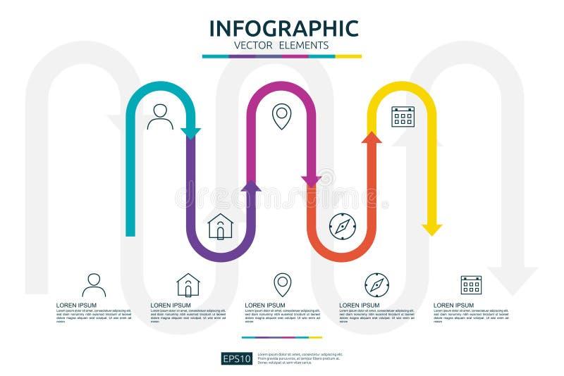 5 infographic stappen het malplaatje van het chronologieontwerp met 3D element van de pijlverbinding Bedrijfsconcept met opties V stock illustratie